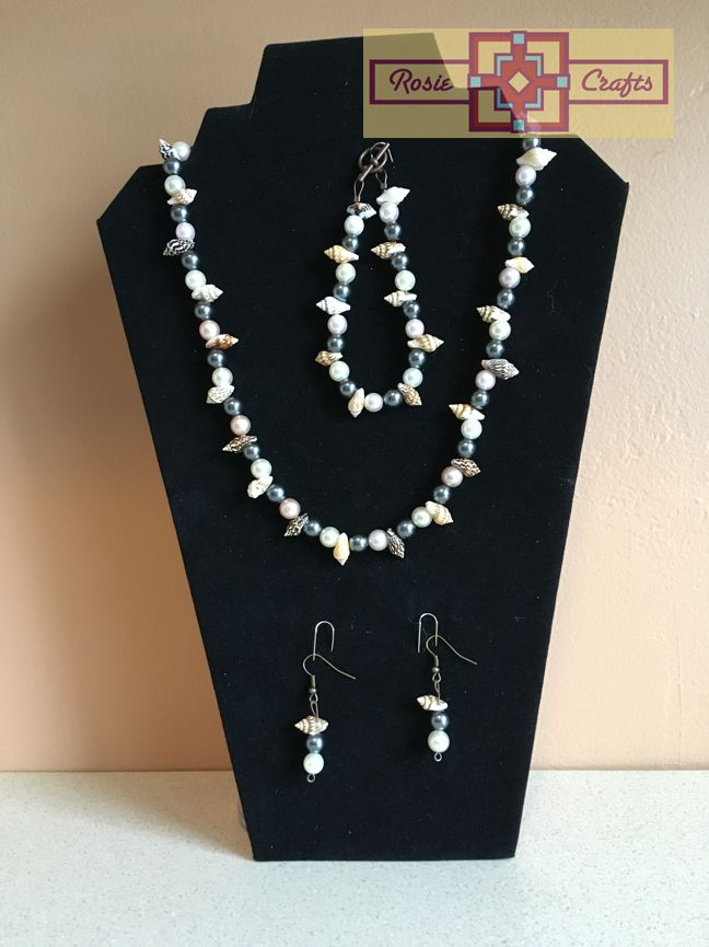 Rosie Crafts Seashell/Pearl Artisan Jewelry Set