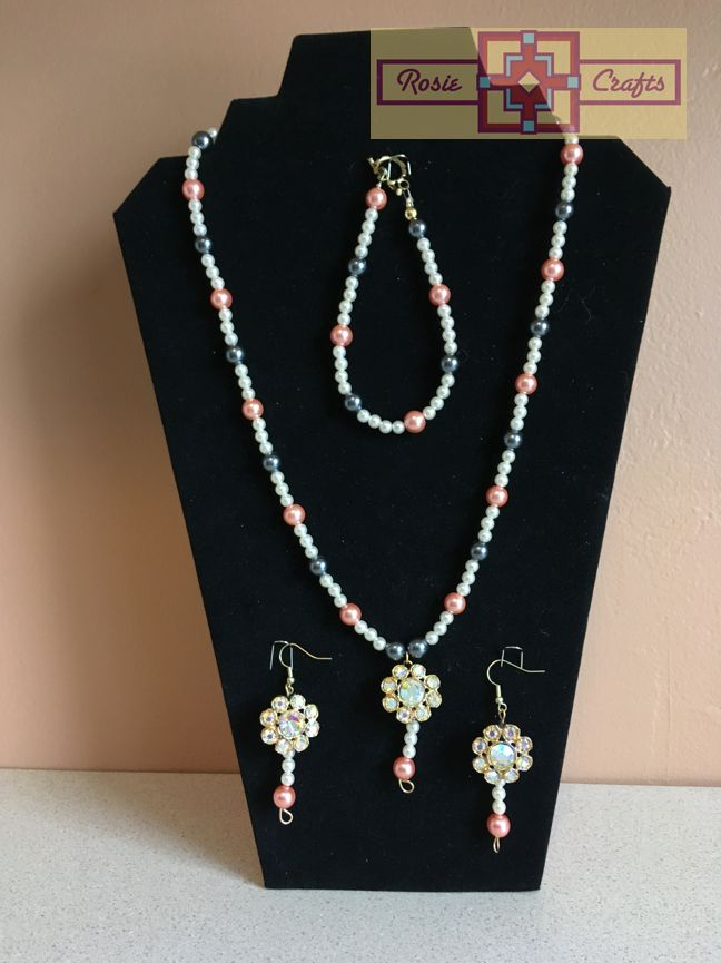 Rosie Crafts Pink/White Pearl Vintage Flower Jewelry Set