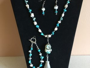 Artisan Tribes Turquoise Stone Tassel Jewelry Set