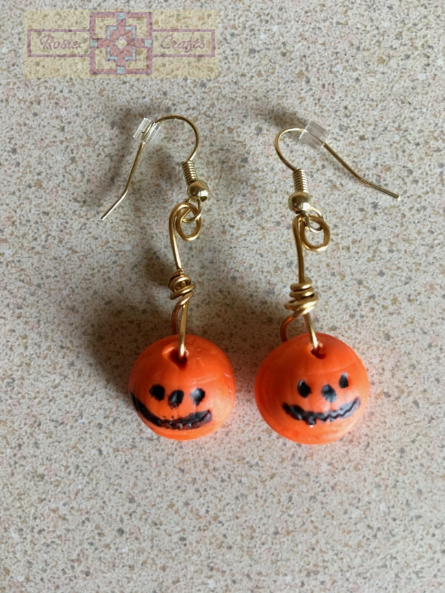 Rosie Crafts Polymer Clay Halloween Pumpkin Earrings