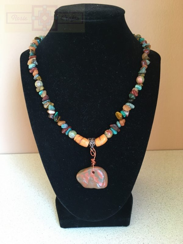 Artisan Tribes Polymer Clay Zuni Bear Necklace