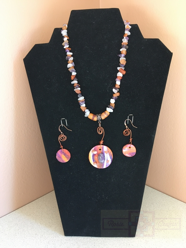 Rosie Crafts Polymer Clay Orange/Purple Swirl Circular Pendant Jewelry Set
