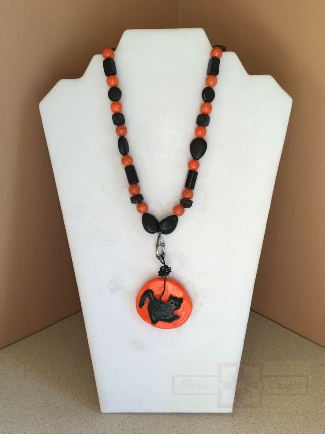 Rosie Crafts Polymer Clay Halloween Cat Necklace
