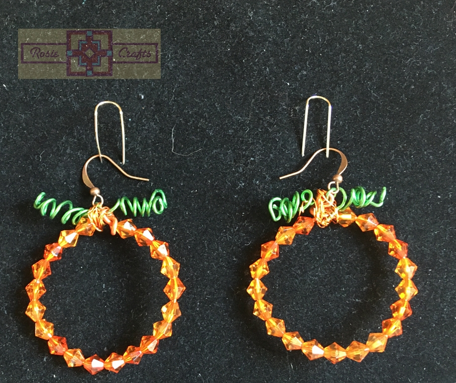 Rosie Crafts Beaded Pumpkin Earrings